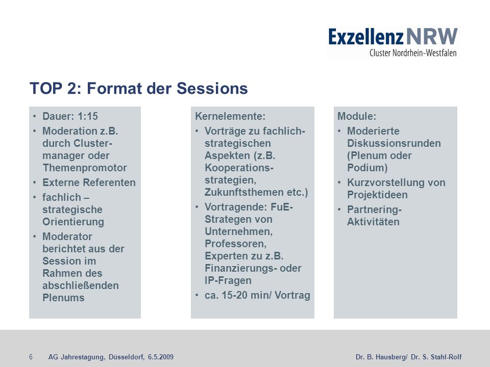 TOP 2: Format der Sessions