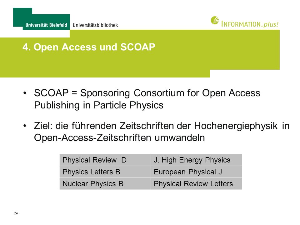 4. Open Access und SCOAP SCOAP = Sponsoring Consortium for Open Access Publishing in Particle Physics.