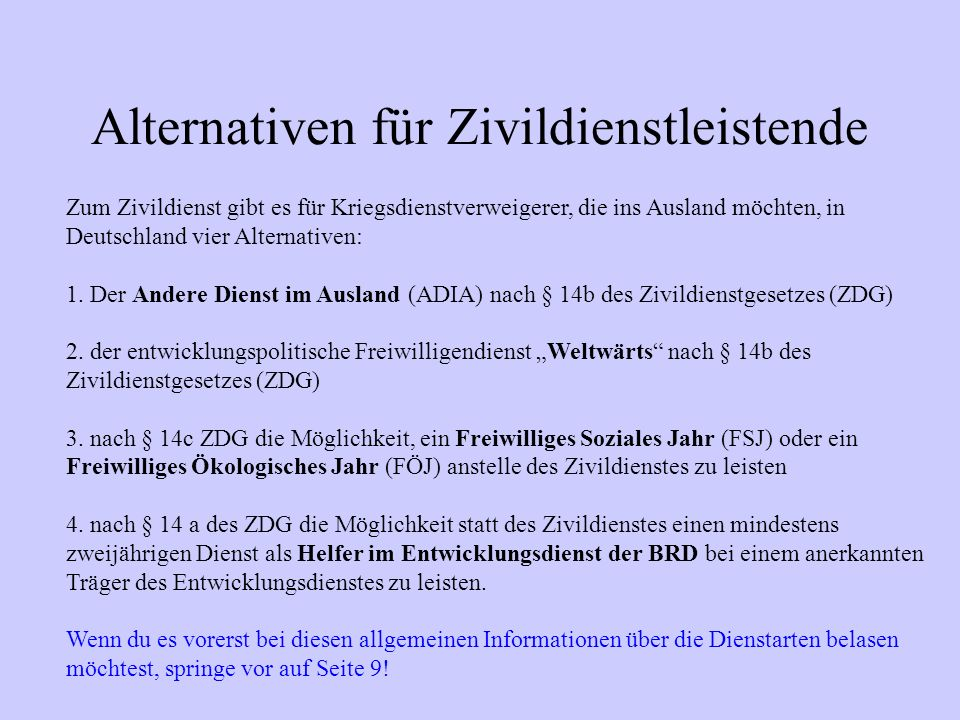 Alternativen für Zivildienstleistende