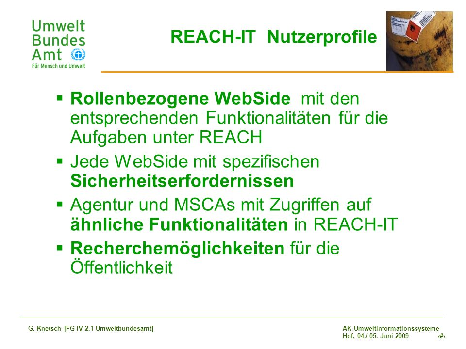 REACH-IT Nutzerprofile