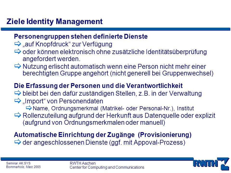 Ziele Identity Management