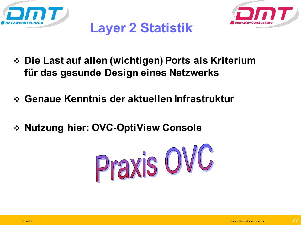 Praxis OVC Layer 2 Statistik