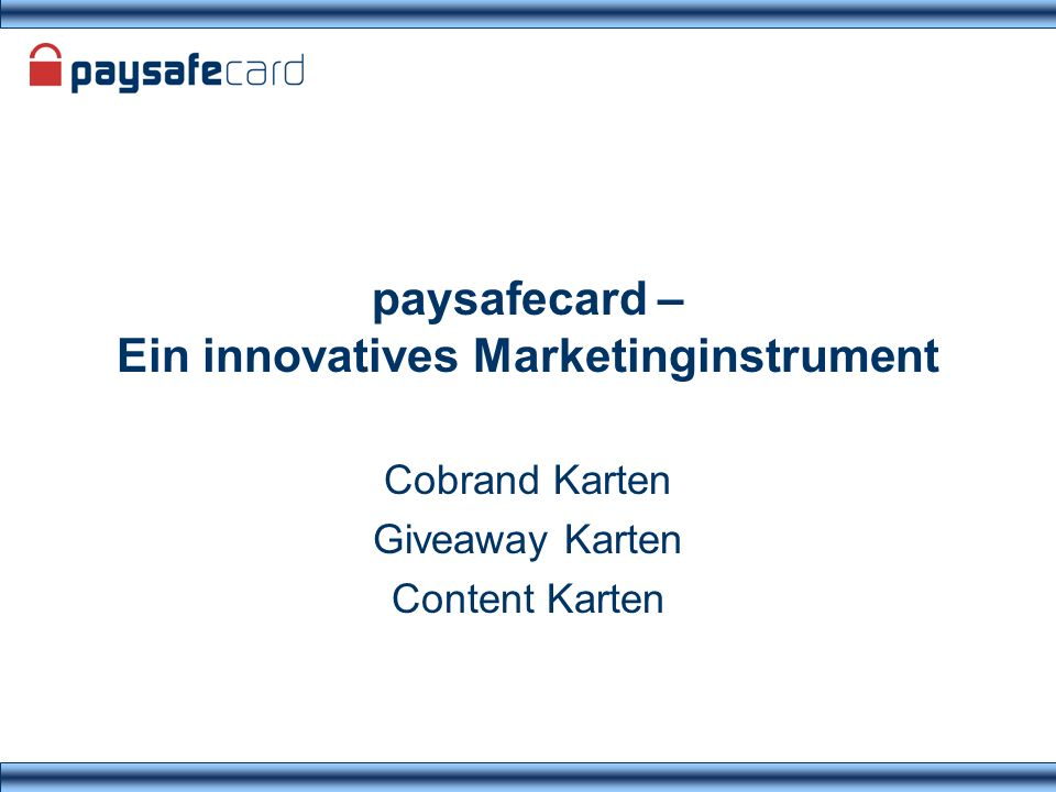 paysafecard – Ein innovatives Marketinginstrument