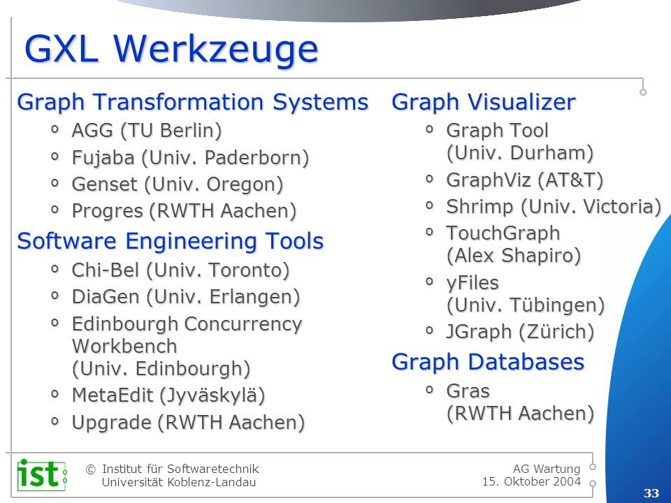 GXL Werkzeuge Graph Transformation Systems Software Engineering Tools