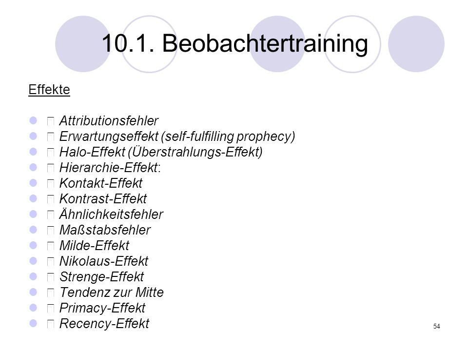 10.1. Beobachtertraining Effekte • Attributionsfehler