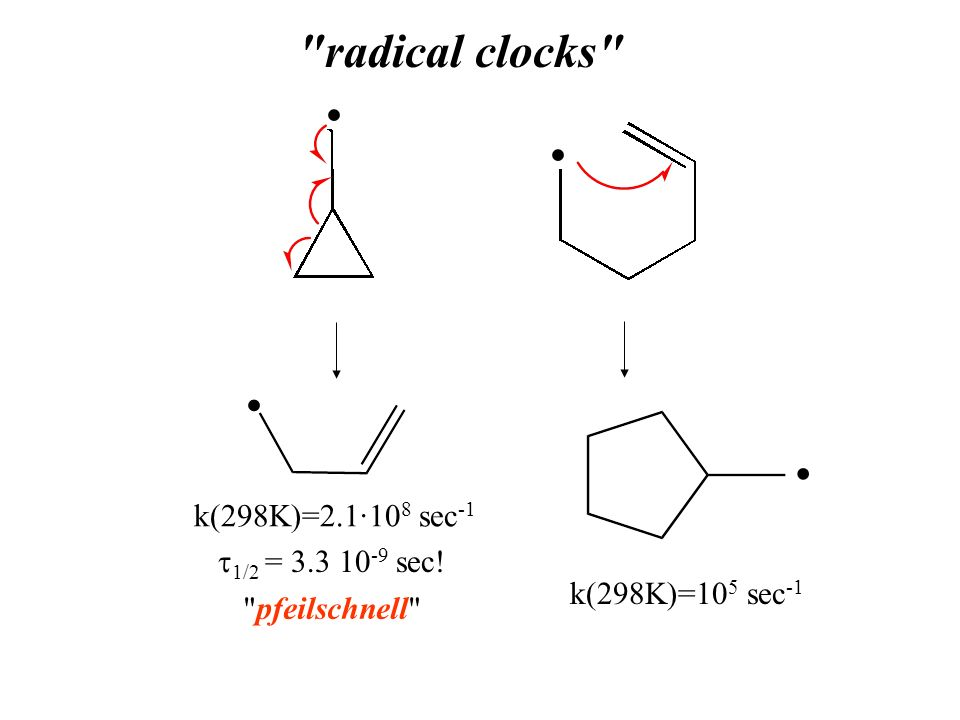 radical clocks • • k(298K)=2.1·108 sec-1 t1/2 = 3.3 10-9 sec!