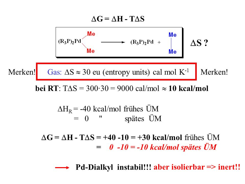 DS DG = DH - TDS Gas: DS  30 eu (entropy units) cal mol K-1 Merken!