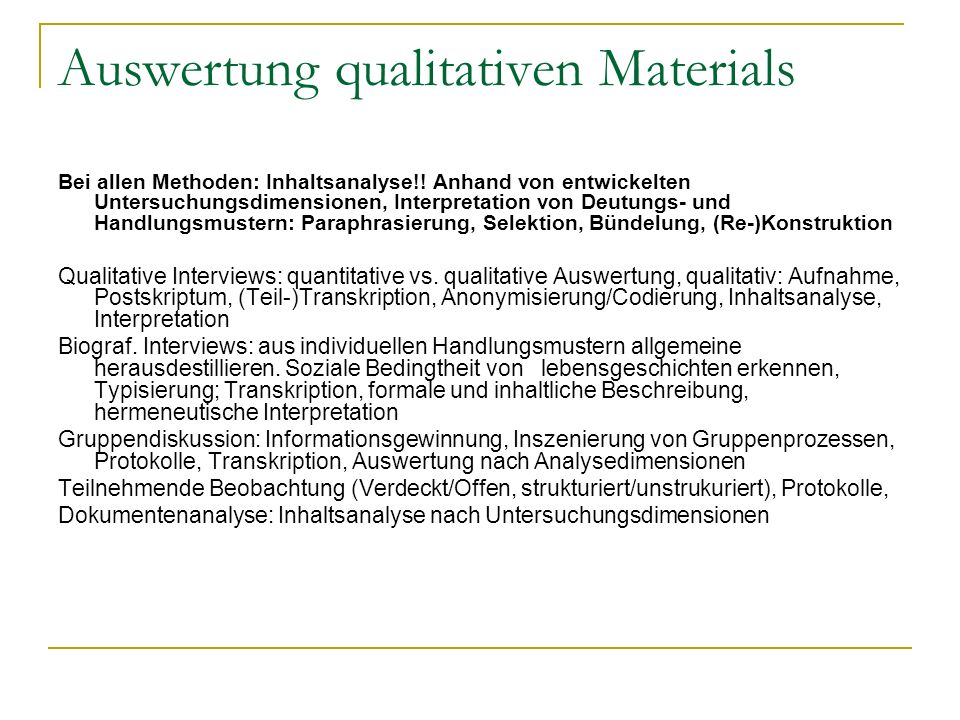 Auswertung qualitativen Materials
