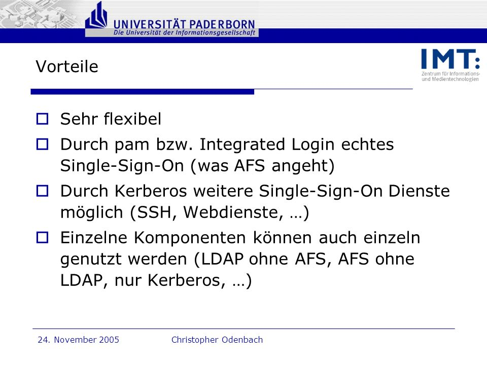 Durch pam bzw. Integrated Login echtes Single-Sign-On (was AFS angeht)