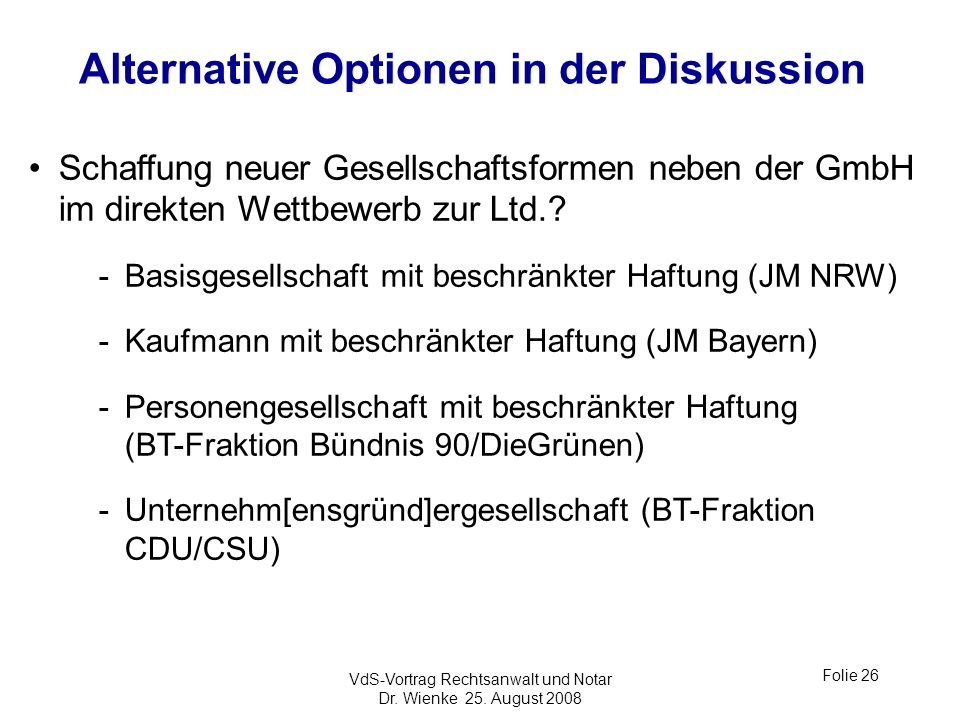 Alternative Optionen in der Diskussion
