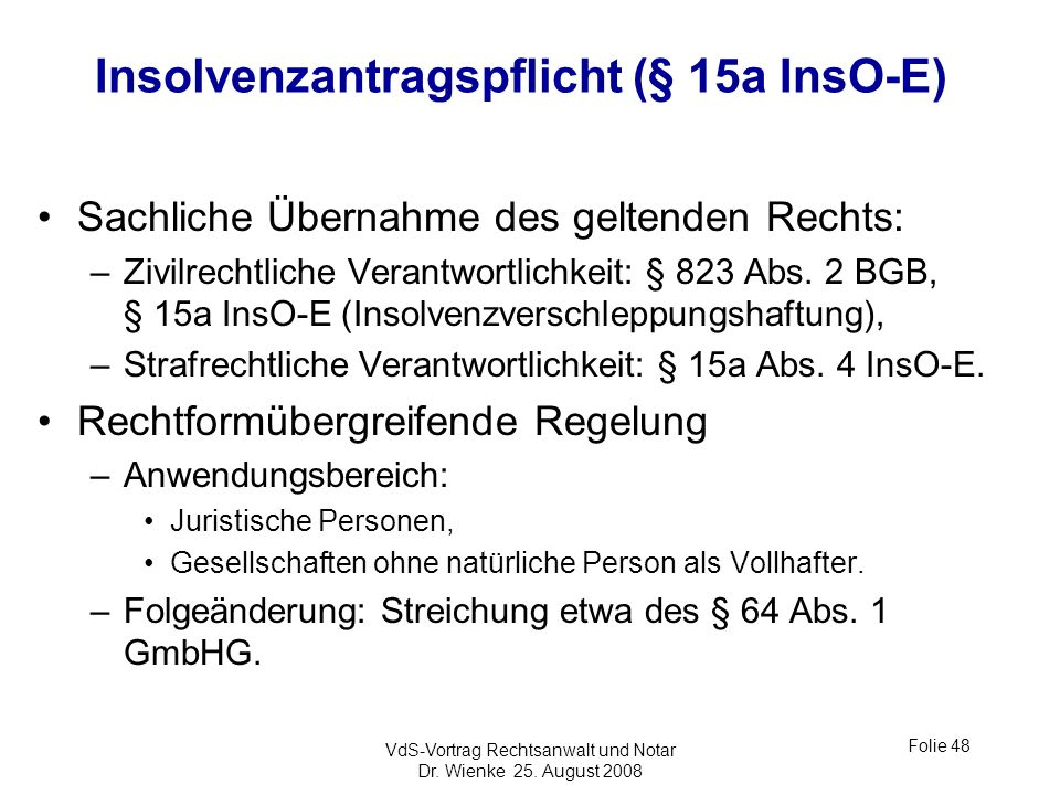 Insolvenzantragspflicht (§ 15a InsO-E)