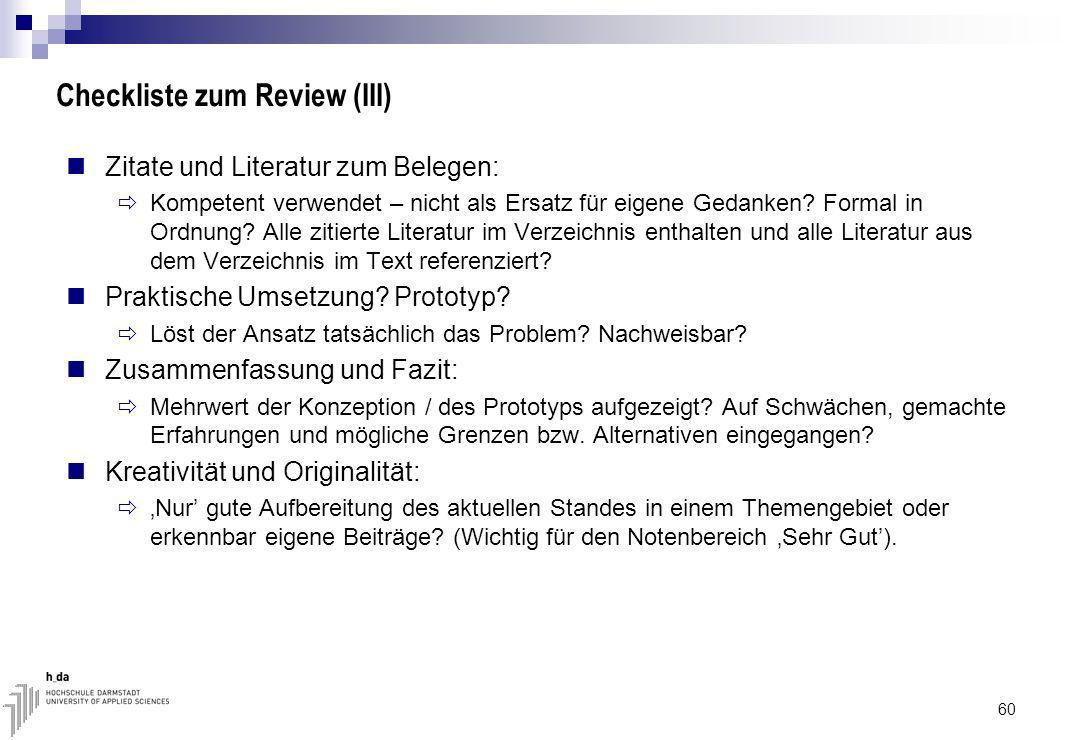 Checkliste zum Review (III)