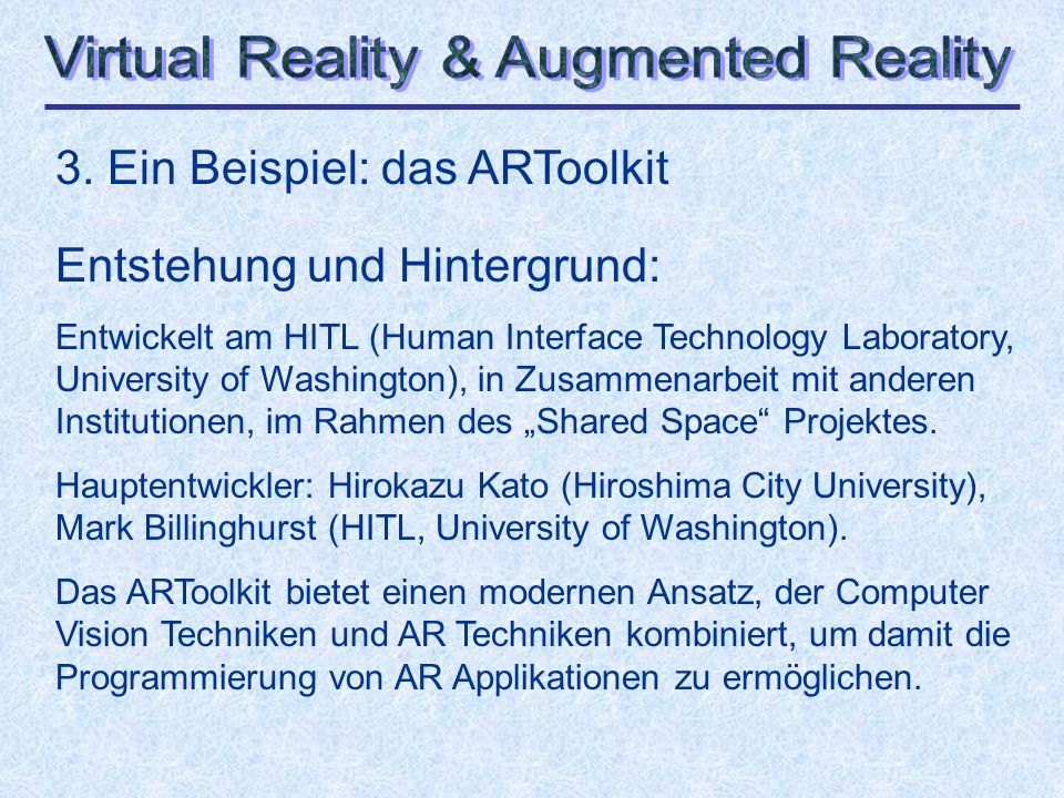 Virtual Reality & Augmented Reality