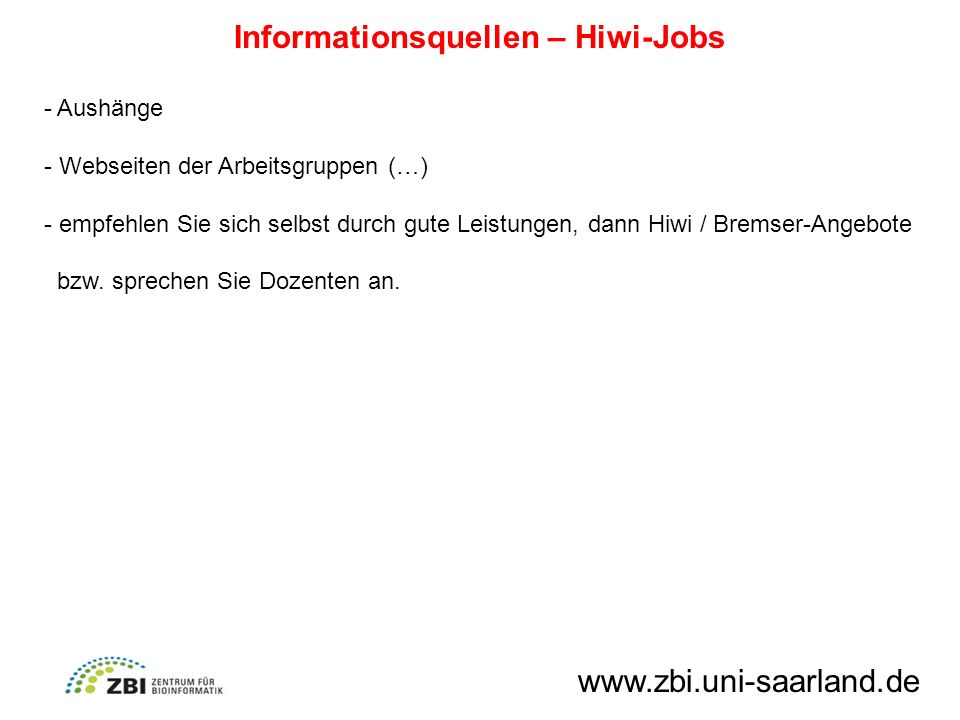 Informationsquellen – Hiwi-Jobs