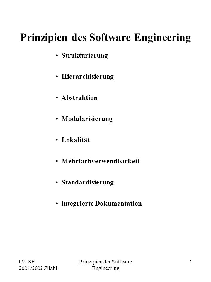 Prinzipien des Software Engineering