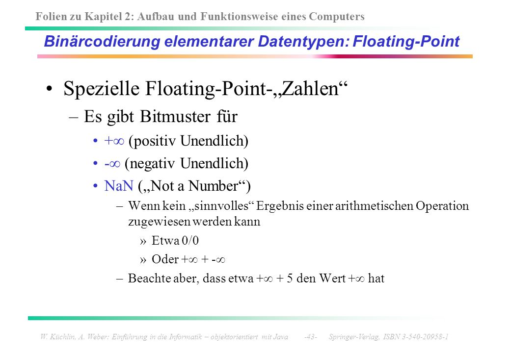 Binärcodierung elementarer Datentypen: Floating-Point