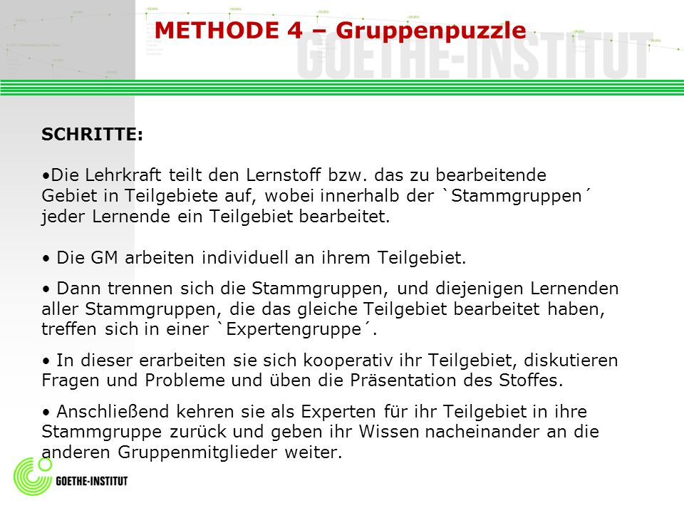 METHODE 4 – Gruppenpuzzle