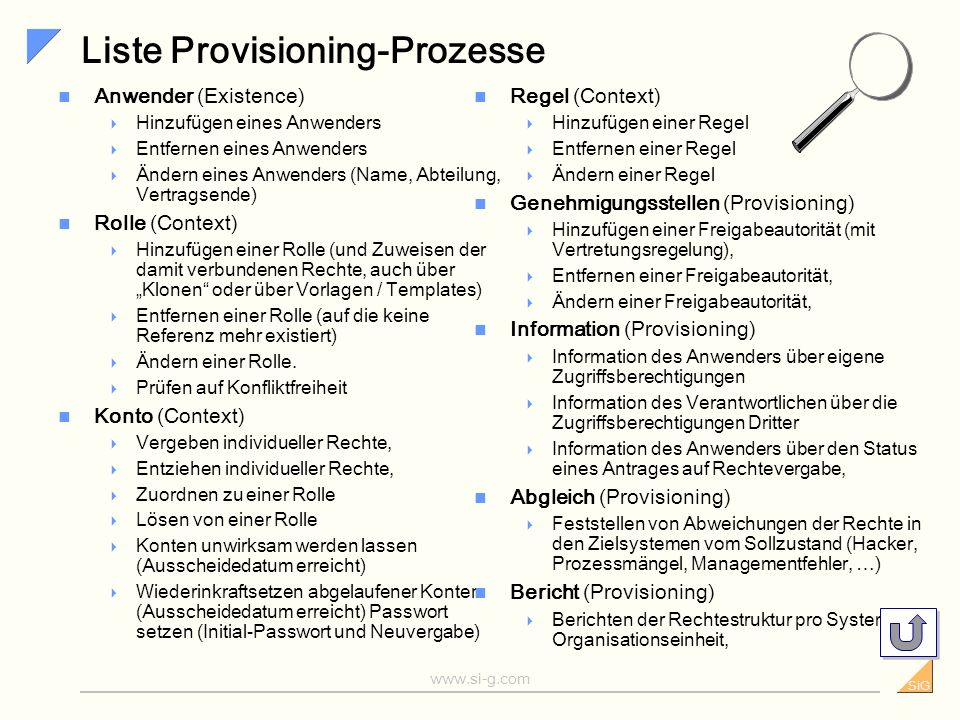 Liste Provisioning-Prozesse