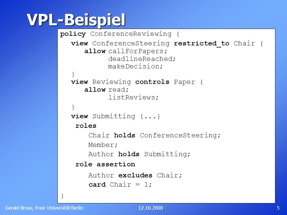 VPL-Beispiel policy ConferenceReviewing {