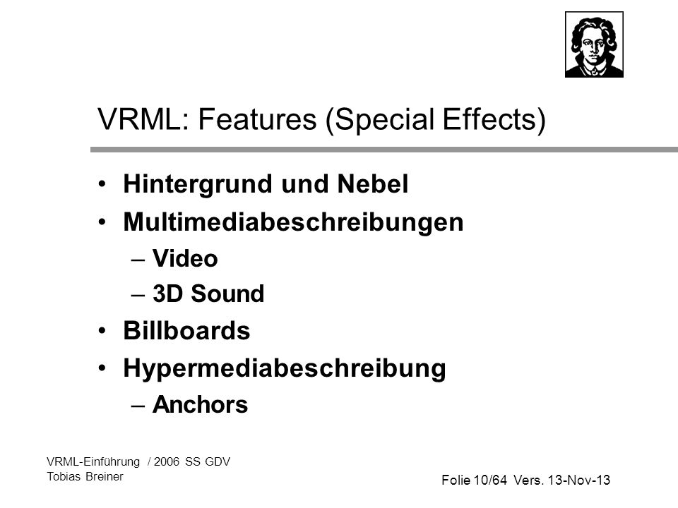 VRML: Features (Special Effects)