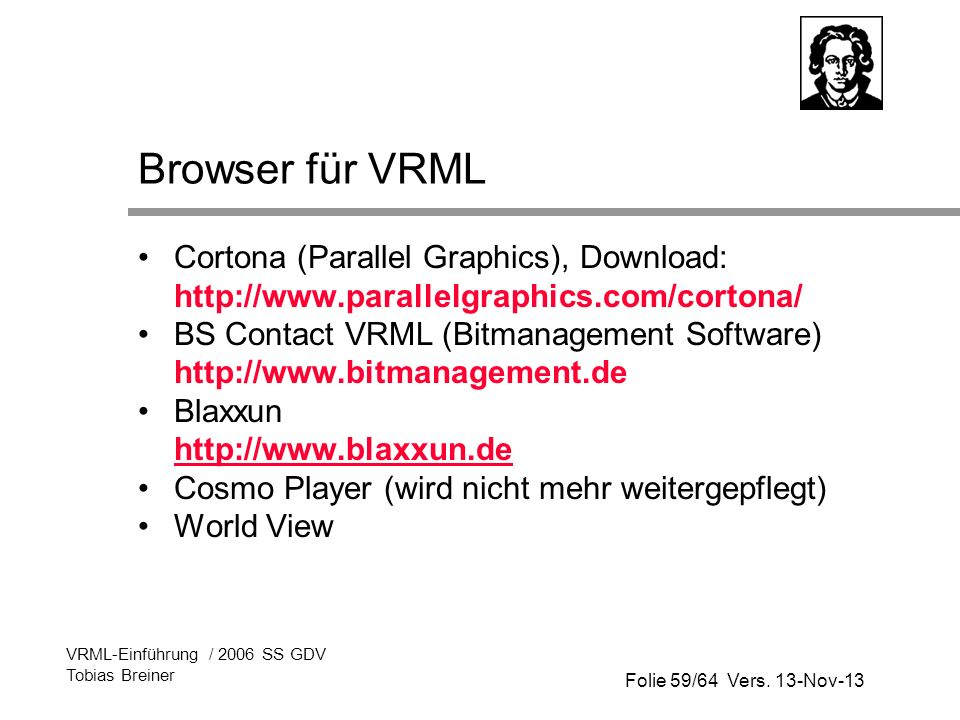 Browser für VRML Cortona (Parallel Graphics), Download: