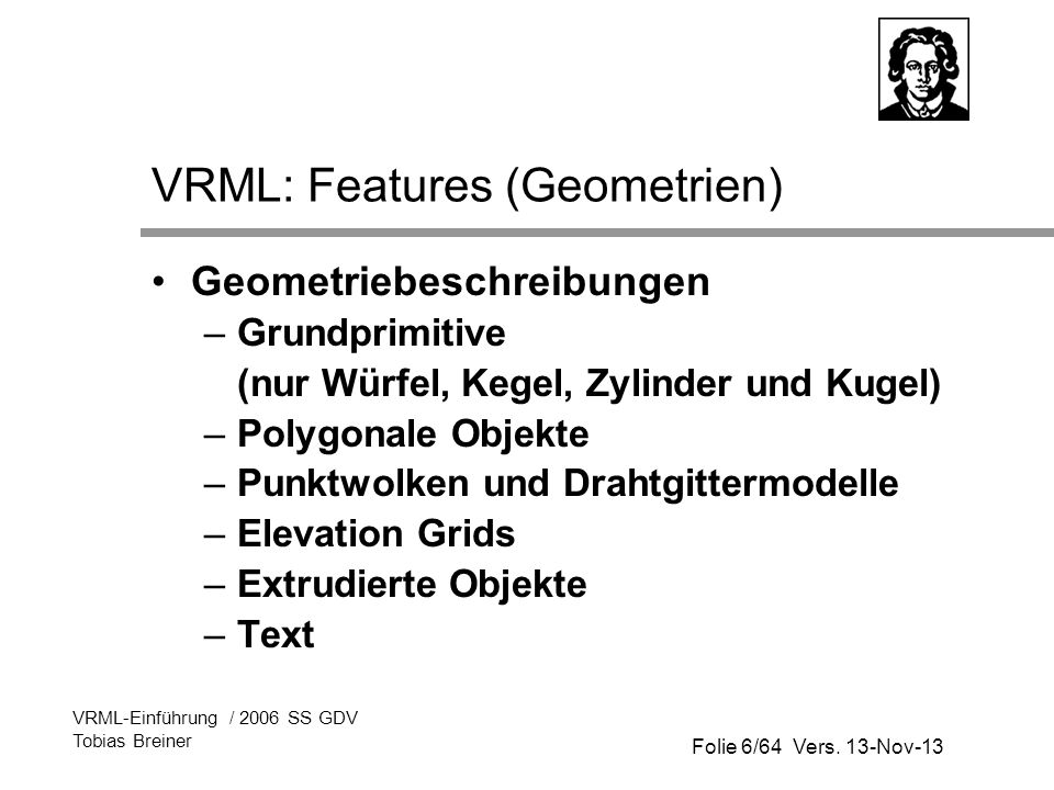 VRML: Features (Geometrien)