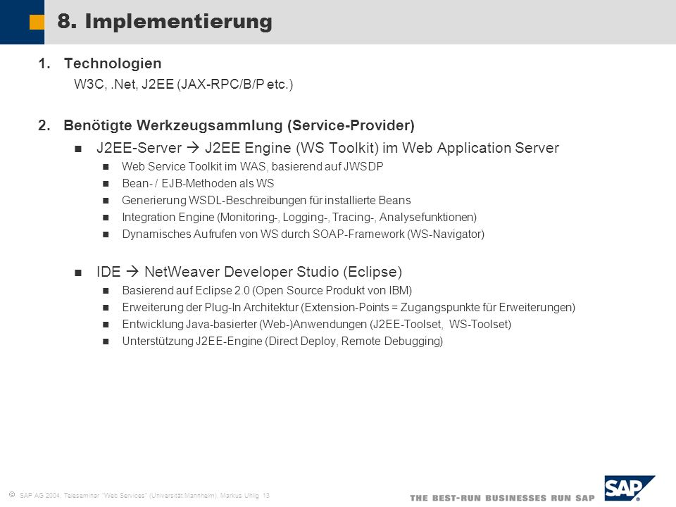 8. Implementierung Technologien