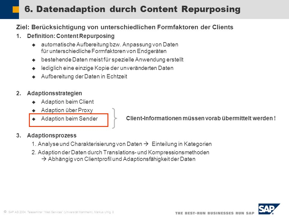 6. Datenadaption durch Content Repurposing
