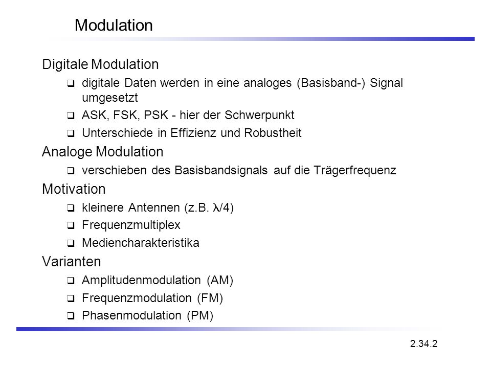 Modulation Digitale Modulation Analoge Modulation Motivation Varianten