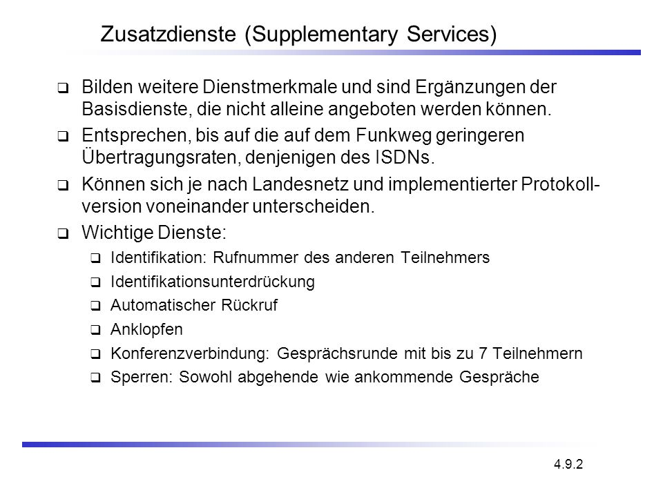 Zusatzdienste (Supplementary Services)