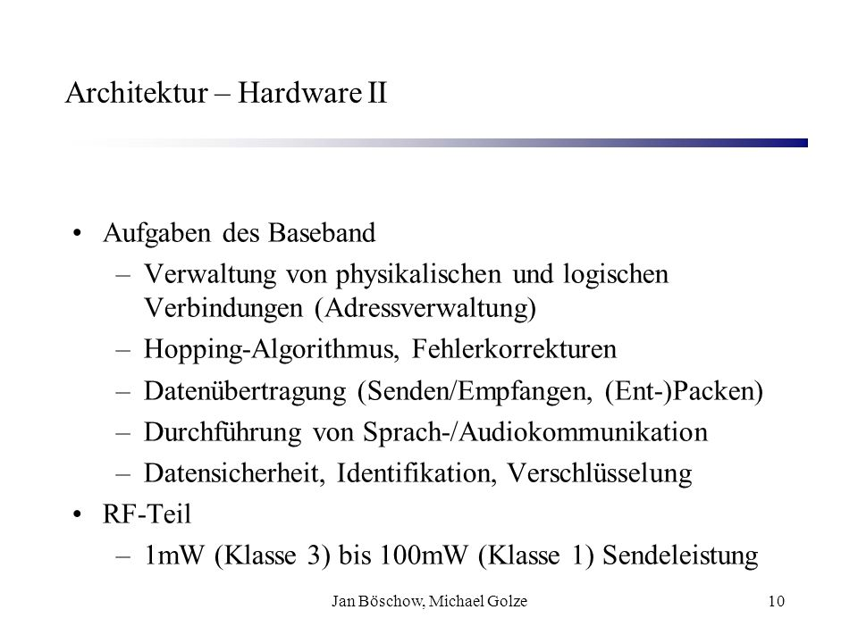 Architektur – Hardware II