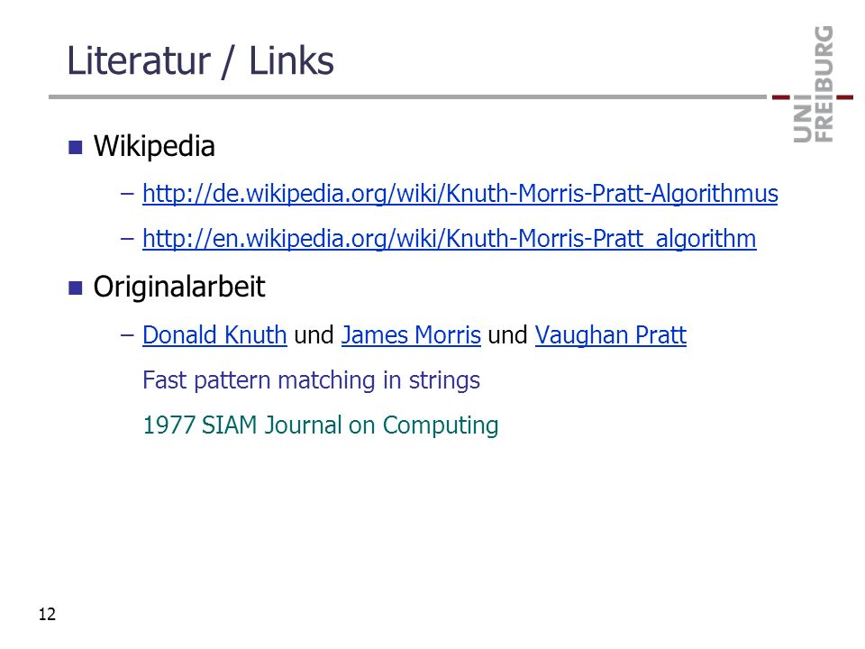 Literatur / Links Wikipedia Originalarbeit