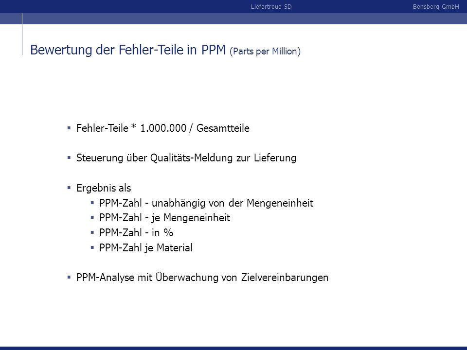 Bewertung der Fehler-Teile in PPM (Parts per Million)