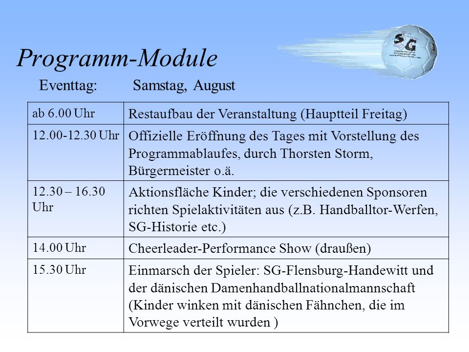 Eventtag: Samstag, August