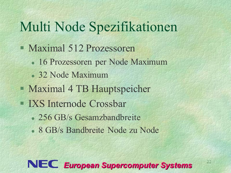 Multi Node Spezifikationen