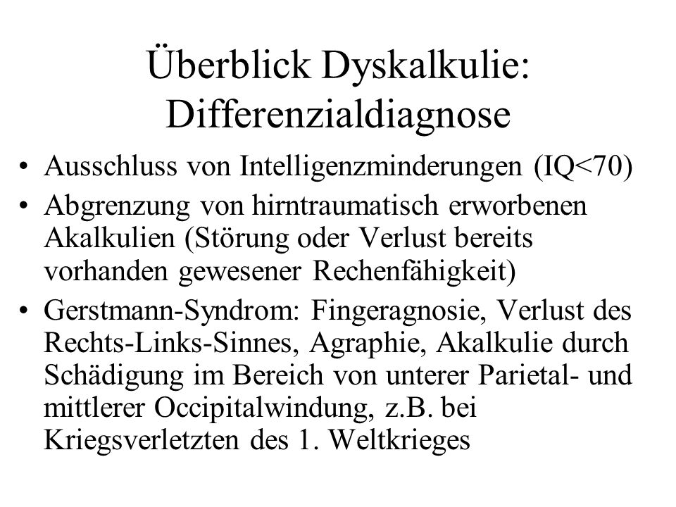 Überblick Dyskalkulie: Differenzialdiagnose