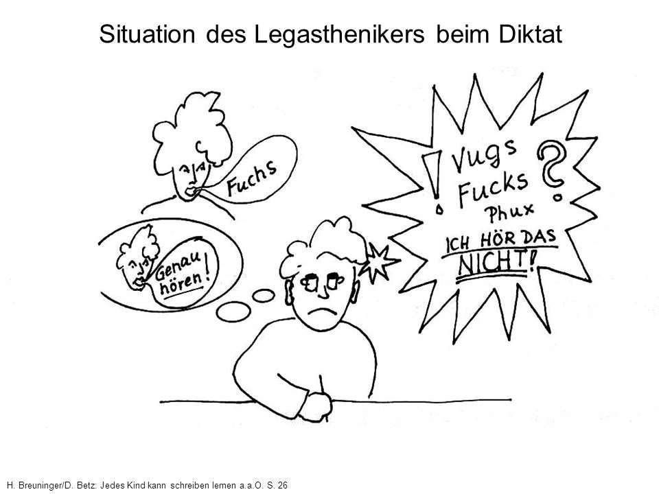 Situation des Legasthenikers beim Diktat