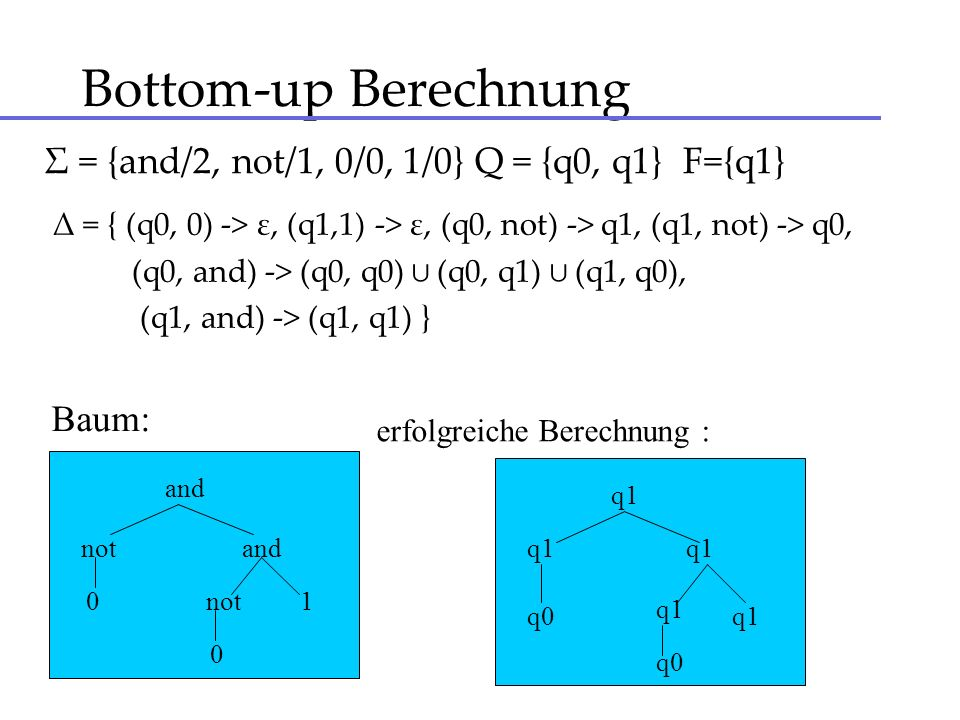 Bottom-up Berechnung Σ = {and/2, not/1, 0/0, 1/0} Q = {q0, q1} F={q1}