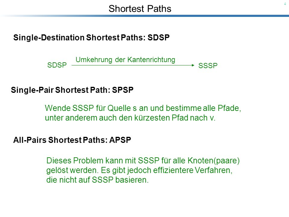 Single-Destination Shortest Paths: SDSP