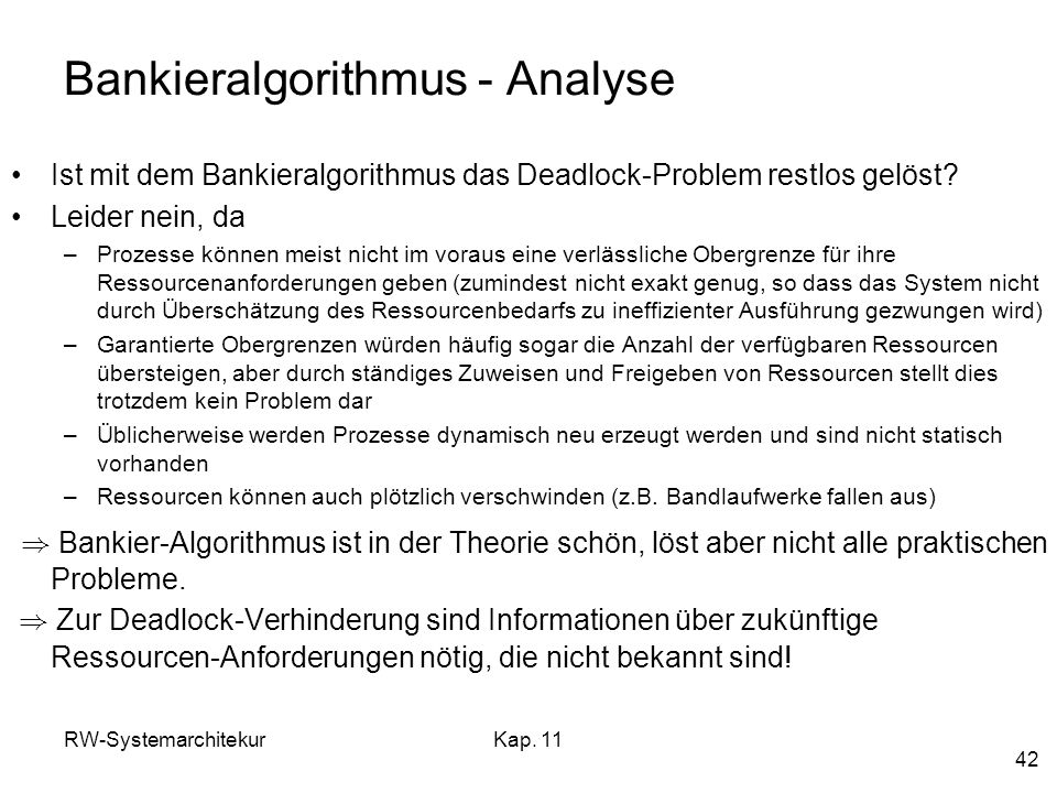 Bankieralgorithmus - Analyse