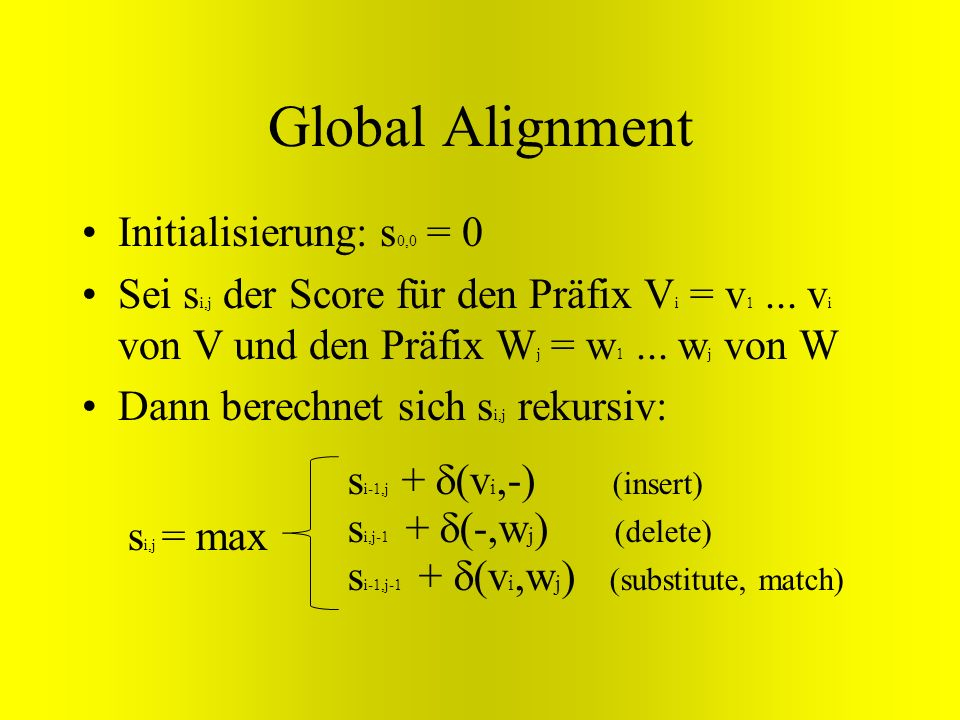 Global Alignment Initialisierung: s0,0 = 0