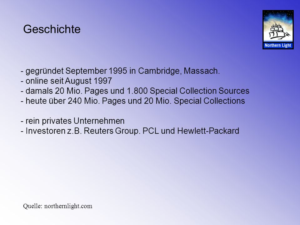 Geschichte - gegründet September 1995 in Cambridge, Massach.