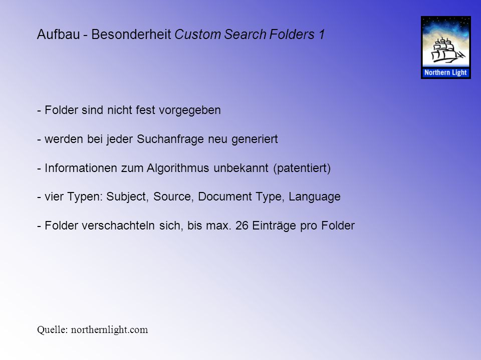 Aufbau - Besonderheit Custom Search Folders 1