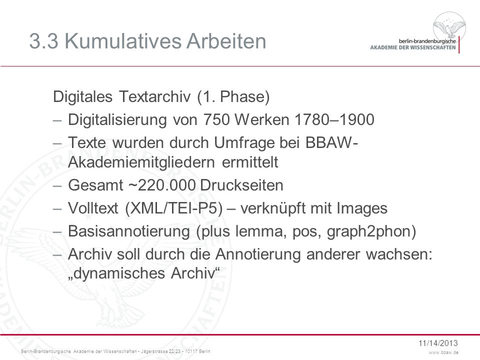 3.3 Kumulatives Arbeiten Digitales Textarchiv (1. Phase)