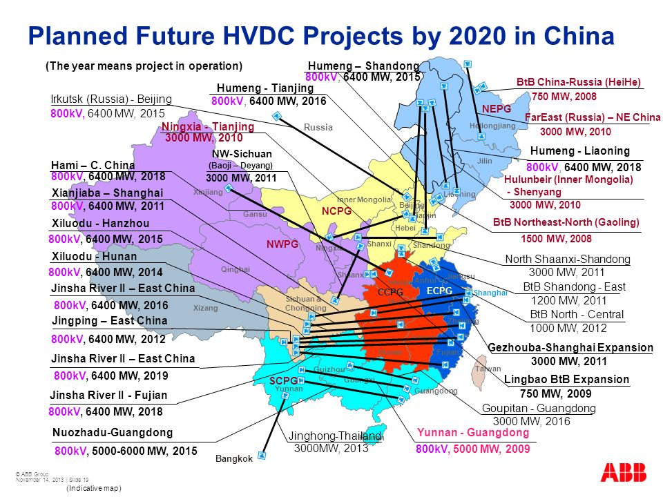 Planned Future HVDC Projects by 2020 in China