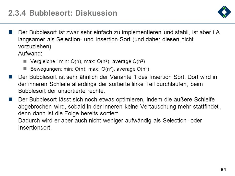 2.3.4 Bubblesort: Diskussion
