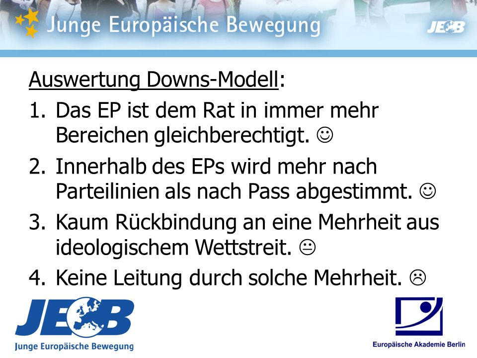 Auswertung Downs-Modell: