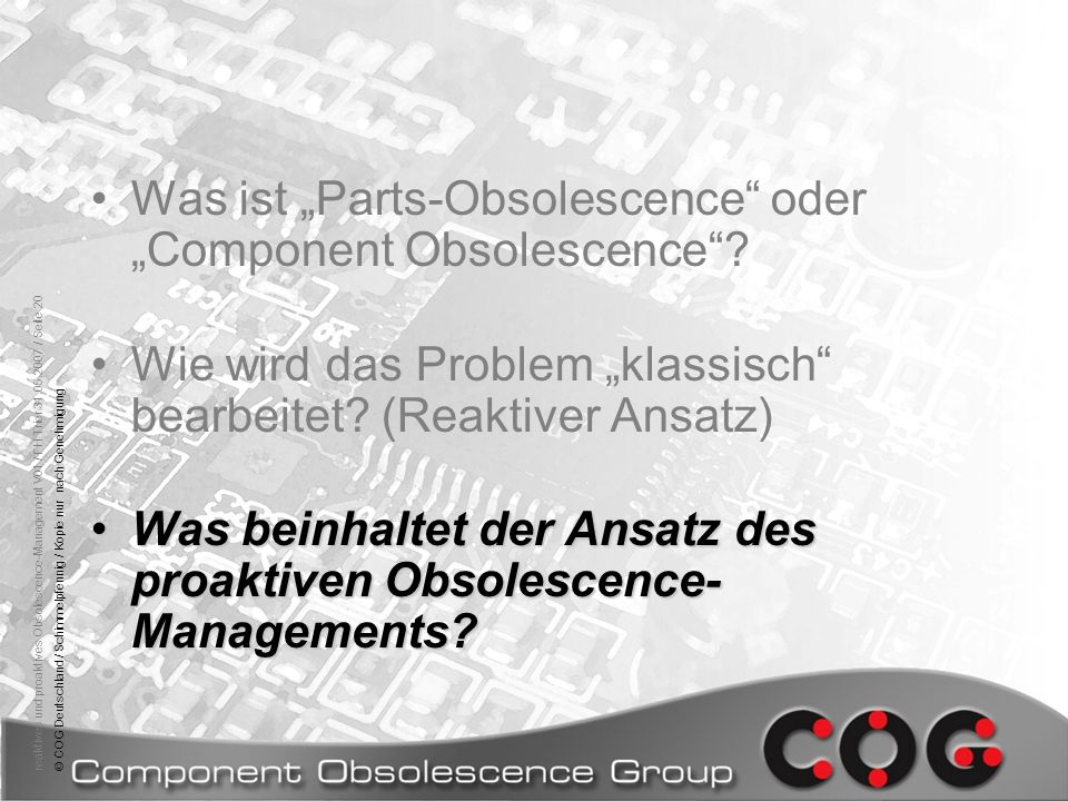 "Was ist ""Parts-Obsolescence oder ""Component Obsolescence"