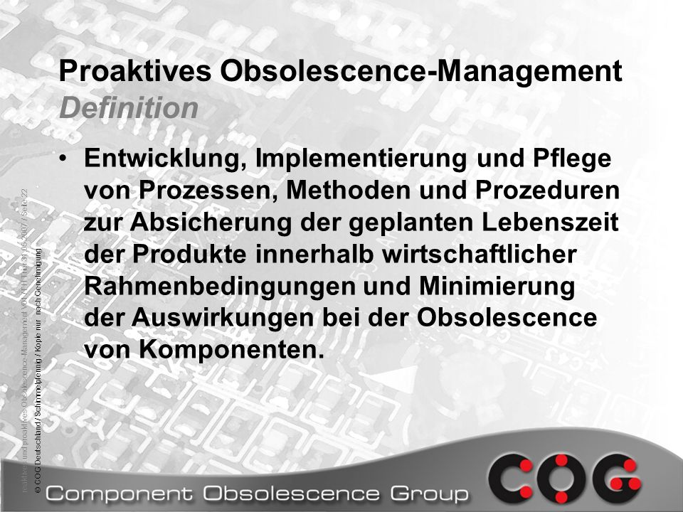 Proaktives Obsolescence-Management Definition