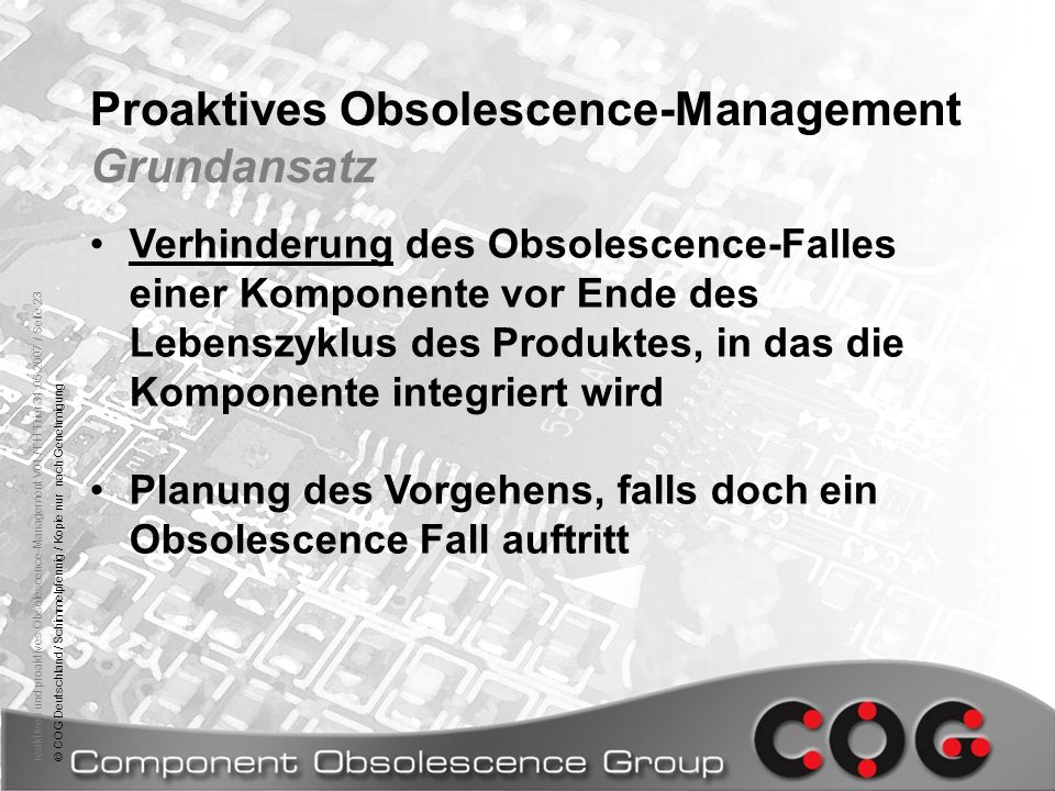 Proaktives Obsolescence-Management Grundansatz